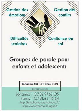 Affiche de présentation des groupes thérapeutiques mis en place par Johanna ARFI et Fanny BERT, psychologues à Lyon.